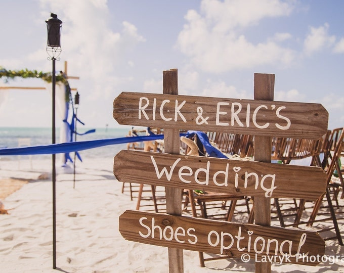 Rustic Wedding Decor, Beach Sign on wood, Shoes Here VOWS there Love Everywhere Couples Gift, Shoes Optional Directional Arrow Sign