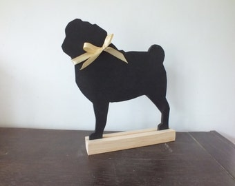 A Hand Made and Hand Painted Pug / Puggie Chalkboard / Blackboard