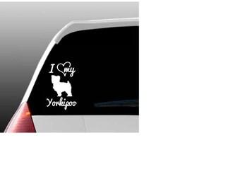 I Love My Yorkipoo/Yorkipoos Car Window Decal