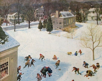 """1956 """"Snowball Recess"""" by John Clymer - Saturday Evening Post Magazine Cover Art - 1950s Children Playing In Snow"""