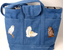tote bag with 3 owls, embroidered tote bag, birdlover's gift, nature gift, lined tote bag, birds of prey, bird embroidery, handmade item