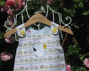 Reversible Dress, reversible pinafore, I'm a little tea pot, macaroons girls dress,  2 in 1 dress,chintzy dress, girls cotton dress,