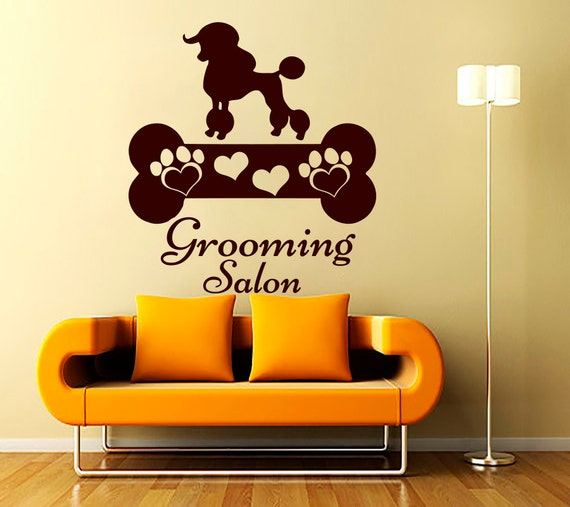 Wall decals dog grooming salon decal vinyl sticker by - Stickers salon design ...