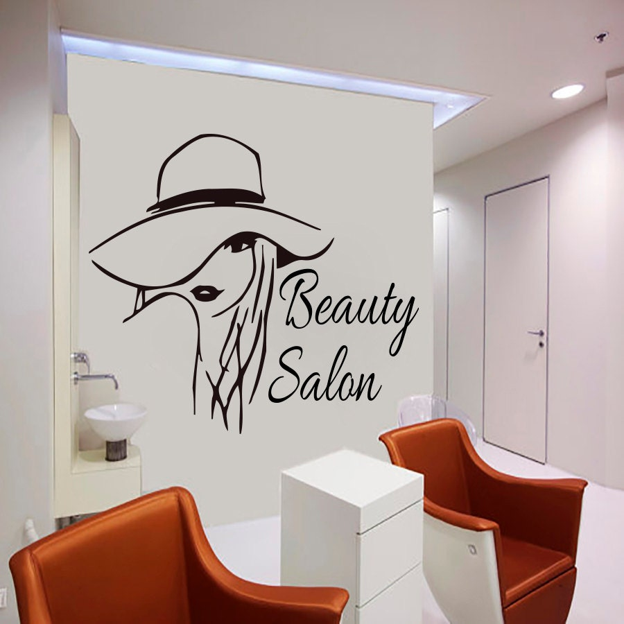 Wall decal beauty salon hair salon woman haircut by cozydecal for Salon pictures for wall