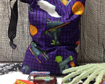 HALLOWEEN Trick Or Treat Bag, Candy Sack, Costume Accessory, Mummy Witches Pumpkins and Bats on Purple Fabric