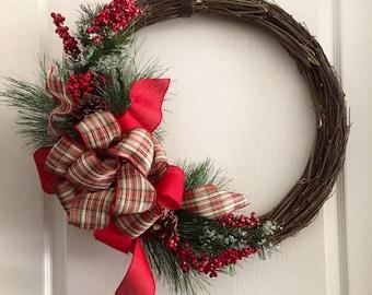 Grapevine Christmas Wreath, Christmas Wreath, Door Wreath, Red Door Wreath, Grapevine Wreath