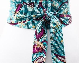 Blue Gold Ankara Obi Belt l African Print Obi Corset Belt | Wax Print Belt | Wide Belt| Corset Belt |Plus size belts| African Print