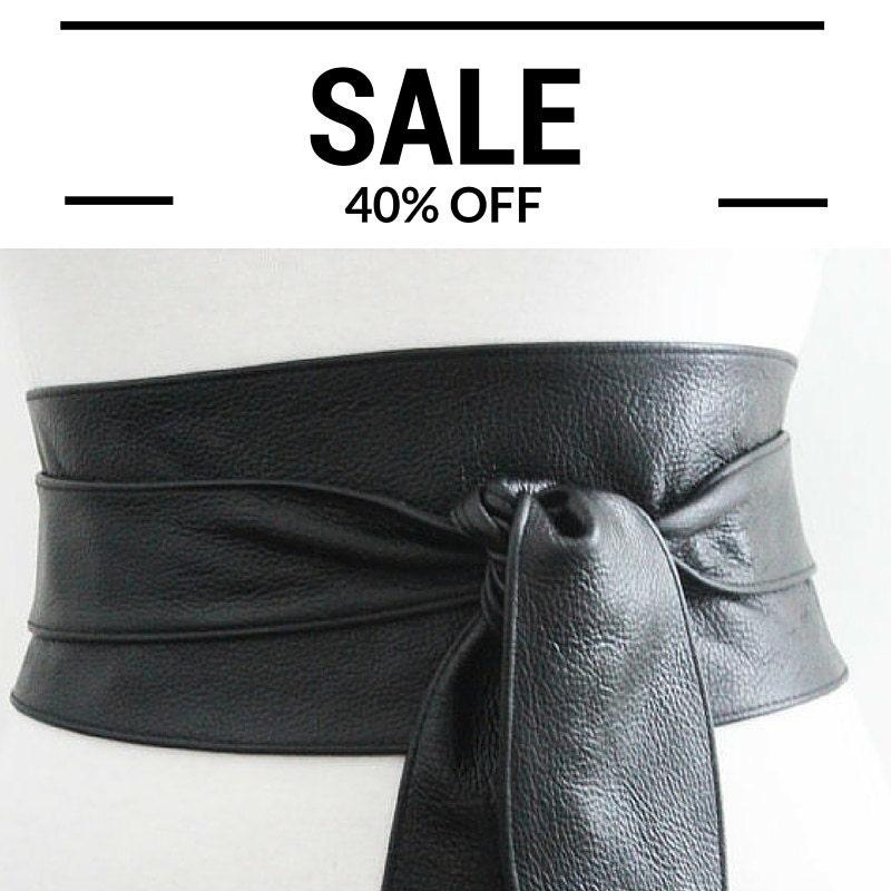 black leather obi belt tulip tie leather tie belt by