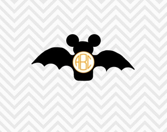 Mickey Mouse Inspired Bat Monogram Halloween SVG, DXF Cricut Design Space, Silhouette, Die Cut Machines, Instant Download of svg, dxf & jpg
