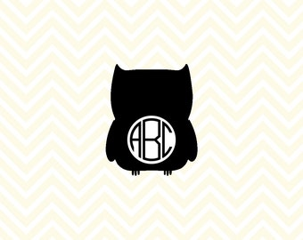 Owl Monogram SVG, DXF for Cricut Design Space, Silhouette, Die Cut Machines, Instant Download of svg, dxf & jpg