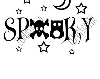 Spooky Halloween Design SVG, DXF Files for Cricut Design Space, Silhouette Studio, Die Cut Machines, Instant Download of svg, dxf, & jpg