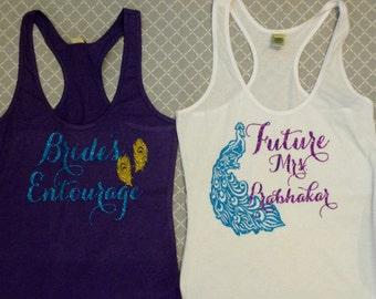 Peacock Bridal/Bachelorette Shirts Purple, Aqua and Old Gold Glitter