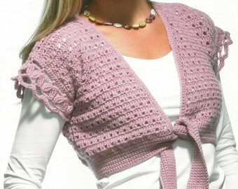 Instant Download - PDF- Pretty Bolero and Cardigan Crochet Pattern with larger sizes (AD34)