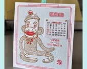 2016  Year of the Monkey Handmade Wall Calendar featuring a vintage Sock Monkey letterpress printed on double thick Lettra in 3 colors!