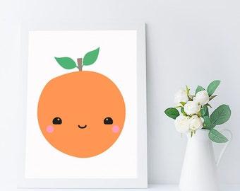 kawaii orange wall art printable for kitchen, nursery or kids room