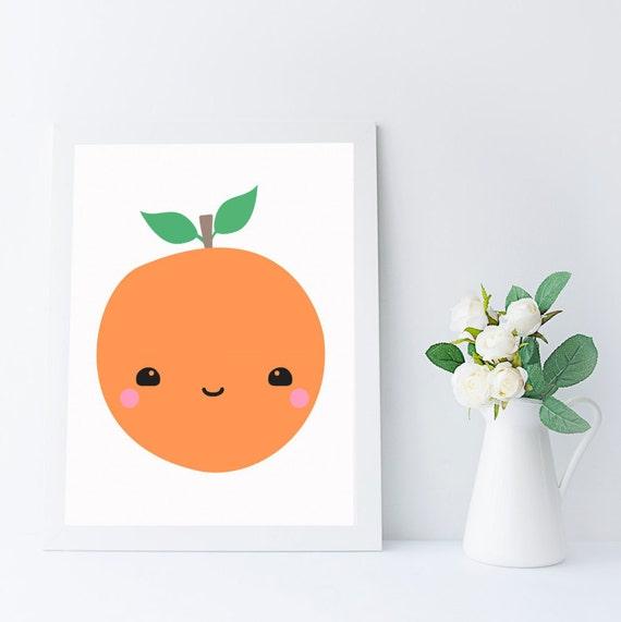 Art de mur orange kawaii imprimable pour cuisine chambre for Art et cuisine rm 101