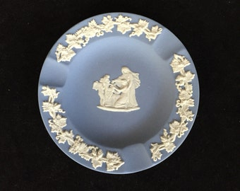 Wedgwood Blue Jasperware Ashtray, Made in England