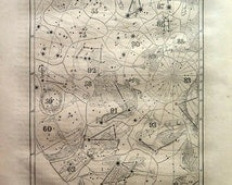 1863 Antique Map of Constellations, original STARS ASTRONOMY print, chart sky cosmos engraving. Horoscope astrology celestial. Plate 11