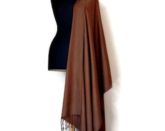 Chocolate Brown Shawl, Brown Wedding Shawl, Gift Scarf, Oversized Wrap, Bridesmaid Gift, Wedding Favor, Gift for her, Removable Brooch Pin