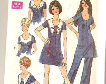 REDUCED PRICE!  VINTAGE Simplicity Sewing Pattern 8746 - Women's Clothes - Mini-Dress and Pants, Size 14