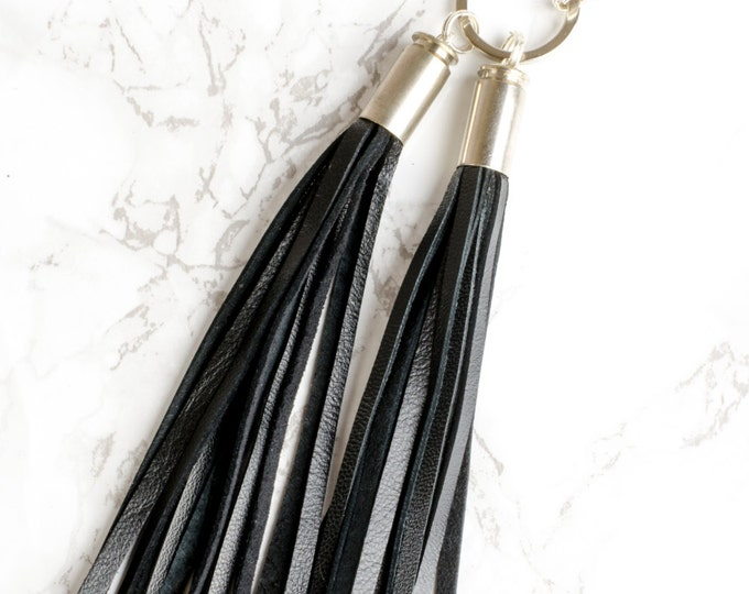 Black Leather Bullet Tassels Encased in silver 40 S&W bullet shell keyring