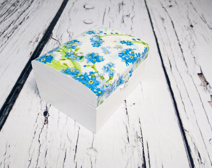 Decoupage wooden trinket box bridesmaid gift personalized blue flowers nots wedding writing small box gift for her keepsake thank you