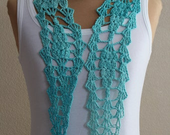 Red or green crochet scarf, shawl, belt, headband, handmade.