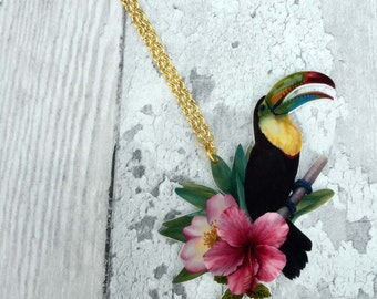 Tropical Toucan Bird Hibiscus Necklace