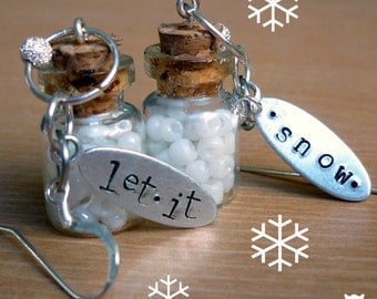 Glass Bottle Earrings, Snow Earrings, Winter Earrings, Skier Earrings, Metal Stamped Earrings, Let It Snow