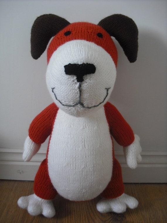 Hand Knitted Kipper the Dog from an Alan Dart pattern