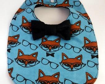 Fox Baby Bib - Blue Bowtie Bib - Bow tie Baby Bib - Dribble Bib - Unique Baby Shower Gift - Hipster Baby Bib - First Birthday Gift