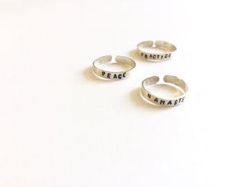 Stamped Rings. Yoga Rings. Stamped Toe Rings. Yoga Toe Rings. Namaste, Peace Custom Silver Rings.