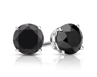 3.00cttw Black Diamond Earrings Studs - Round Brilliant Cut - White Gold