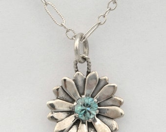 Sterling Silver Petal Design Necklace with Blue Zircon 18 inch Chain