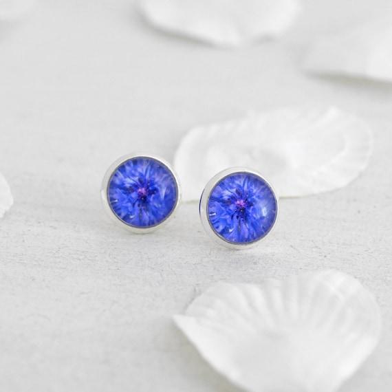 Blue Cornflower Stud Earrings