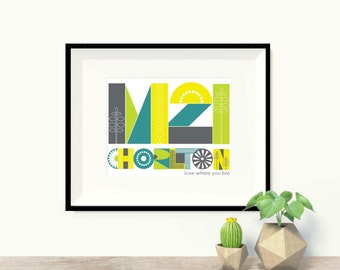 M21 Chorlton Print in blue-green, Chorlton Postcode Print, M21 art print, A4 print