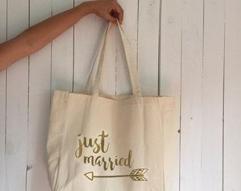 Wedding tote bag, just married tote bag, tribal honeymoon tote, bachelorette tote, bridal tote, bridesmaid tote, tribal wedding bag