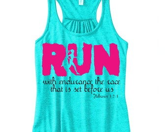 Run with Endurance - Iron On - Printable File -  The Race that is Set Before Us- Hebrews 12 1 Pink and Black