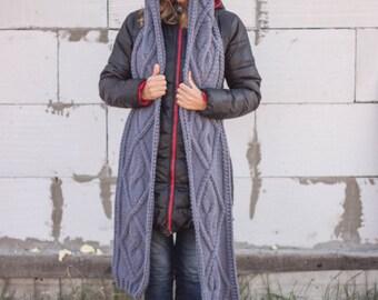 Hooded Scarf. Long Scarf. Wool Scarf. Grey hoodie scarf knit scoodie scarf. Hooded long scarf. Chunky hooded scarf. Scoodie