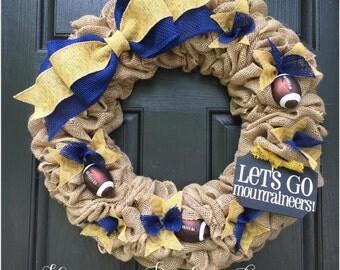 West Virginia Go Mountaineers Burlap wreath, college football wreath, sports wreath