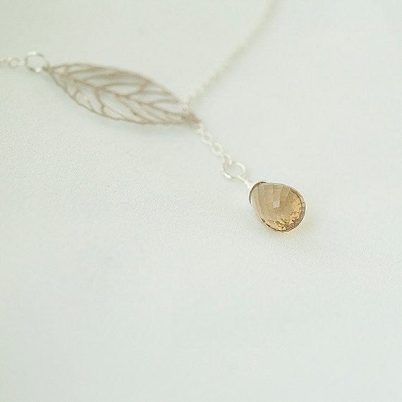 Lariat Faceted Honey Quartz Necklace. Leaf Lariat Necklace.