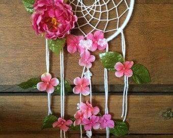 Floral Dreamcatcher Pink White Flowers