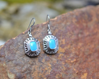 Sterling Silver and Faux Turquoise Mediterranean Dangle Wire Earrings