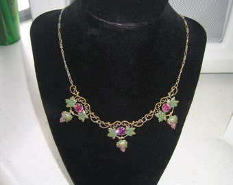 Vintage brass unsigned Czech necklace with Enaml Grape Clusters & Purple Rhinestones