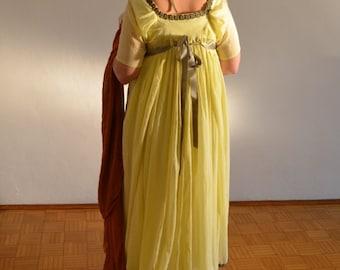 Regency dress yellow muslin