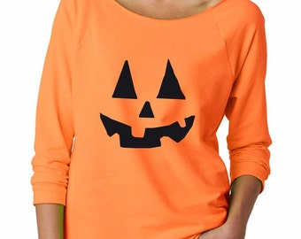 Pumpkin Sweatshirt. Super Soft & Comfy, Raw Edge, Boat Neck, Terry Sweatshirt w 3/4 length sleeves. Women's Halloween Shirt.