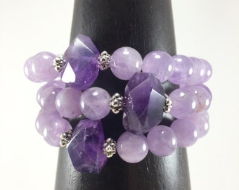 Lavender Amethyst Bracelet/ Amethyst/ lavender/ purple/ gemstone/ bracelet/ Nature Art/ jewelry