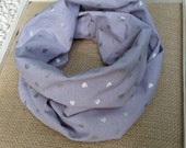 SILVER HEARTS and Light Grey Infinity Scarf Babies Toddlers Soft Cotton Stylish Cottage Chic Trendy Baby Optional Hair Accessory Gift Ideas