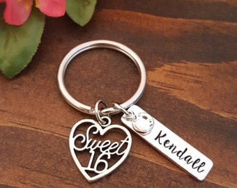Sweet 16 Keychain | Sweet 16 Gift | Personalized Sweet 16 Keychain Birthday Gift | Sweet 16 Key Chain | Sweet 16th Birthday Gifts