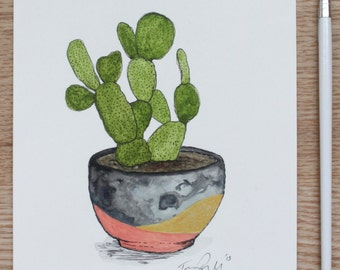 """Watercolour & Ink Original """"The Modern Cactus"""" - 5""""X7"""" painting (133mmX190mm)"""